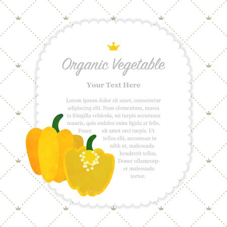 Colorful watercolor texture nature organic fruit memo frame yellow Scotch bonnet pepper