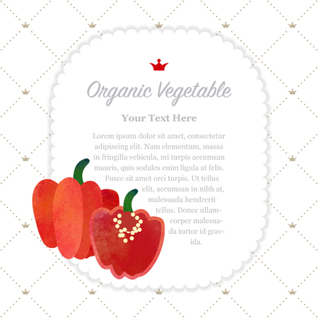 Colorful watercolor texture nature organic fruit memo frame red Scotch bonnet pepper