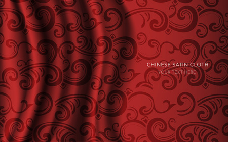 Traditional Red Chinese Silk Satin Fabric Cloth Background spiral curve wave cross cloud