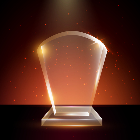Blank Transparent Vector Acrylic Glass Trophy Award template in Glowing Background 일러스트