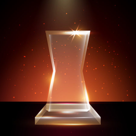 Blank Transparent Acrylic Glass Trophy Award template in Glowing award