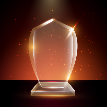 Blank transparent acrylic glass trophy award template.