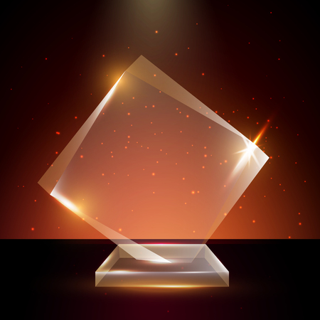 certificate template: Blank transparent acrylic glass trophy award template.