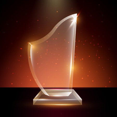 certificate template: Blank Transparent Vector Acrylic Glass Trophy Award template in Glowing Background Illustration