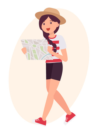 Cartoon character design female look map to find the way Illustration