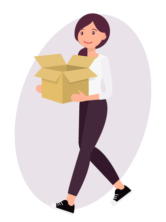 Cartoon character design female woman carry empty paper box with cheerful face