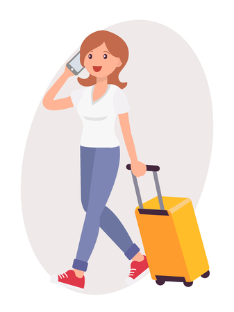 Cartoon character design female talk on the phone travel with luggage Illustration