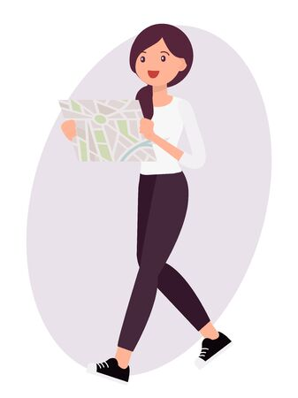 Cartoon character design female look map to find the way 向量圖像