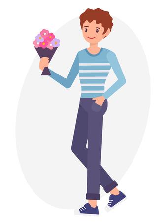 漫画文字デザインの男性抱きかかえた花花束を待つ恋人  イラスト・ベクター素材