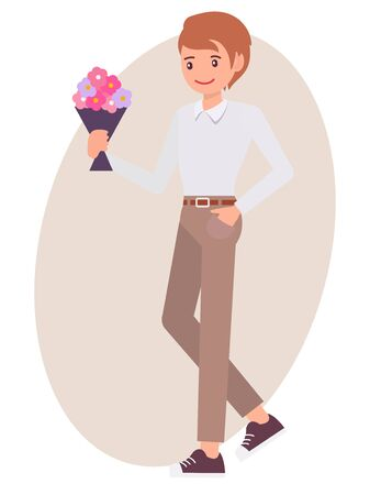 Cartoon character design male man holding flower bouquet wait for lover