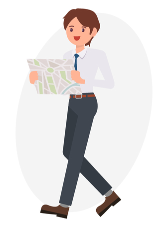 Cartoon character design male man watch map look for the way Stock Vector - 86425102