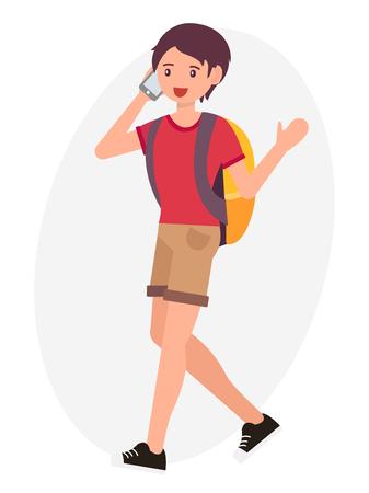 Cartoon character design male man walking talk on the phone cheerfully