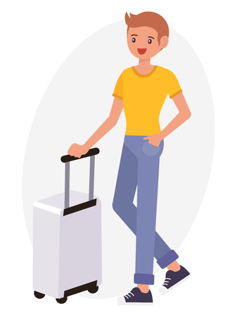 Cartoon character design male tanned skin young man stand beside luggage