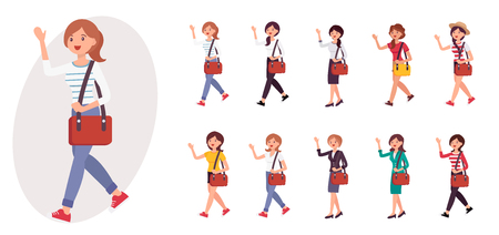 Cartoon character design female girl studen wave hand saying hello collection