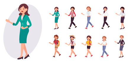 Cartoon character design female bank receptionist office lady in uniform welcome customer collection