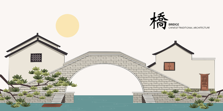 Vector Chinese Traditional Template Series Architecture Building stone bridge house Stock Vector - 88461616