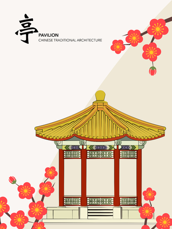 Vector Chinese Traditional Template Series Architecture Building pavilion plum blossom