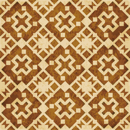 Retro brown watercolor texture grunge seamless background square geometry cross kaleidoscope Stock Vector - 88678163
