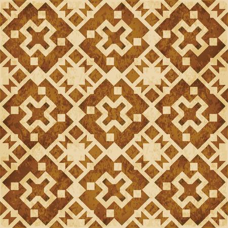 Retro bruine van de textuur grunge naadloze achtergrond vierkante meetkunde dwarscaleidoscoop Stock Illustratie