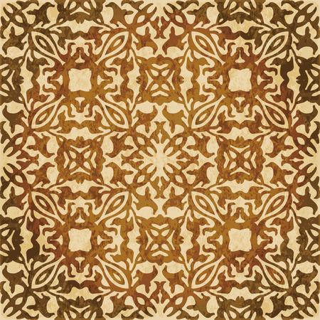 Retro brown watercolor texture grunge seamless background curve geometry kaleidoscope. Иллюстрация