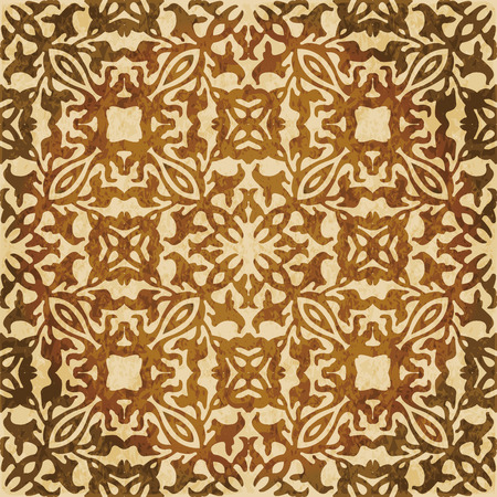 Retro brown watercolor texture grunge seamless background curve geometry kaleidoscope. Illustration