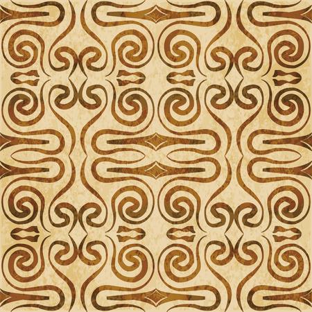 Retro brown watercolor texture grunge seamless background hand drawn spiral kaleidoscope