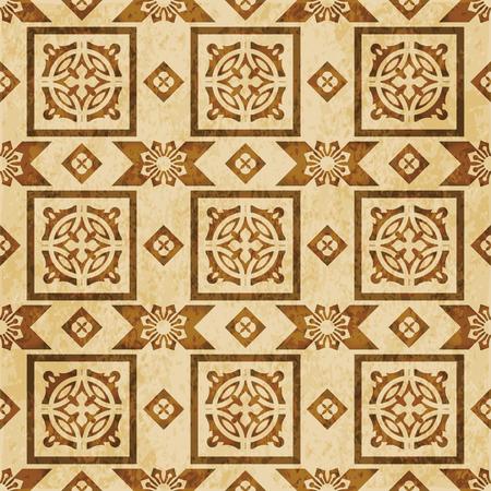 Retro brown watercolor texture grunge seamless background round square geometry kaleidoscope