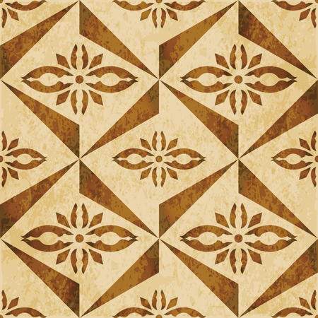 Retro brown watercolor texture grunge seamless background triangle geometry cross flower