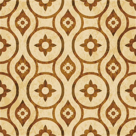 worn out: Retro brown watercolor texture grunge seamless background round geometry cross flower