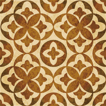 worn out: Retro brown watercolor texture grunge seamless background round leaf geometry kaleidoscope Illustration