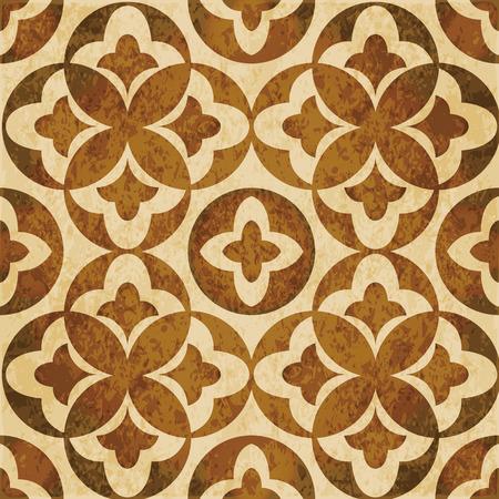 Retro brown watercolor texture grunge seamless background round leaf geometry kaleidoscope Illustration