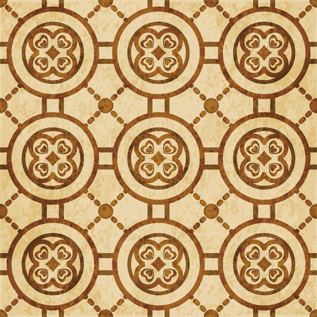 Retro brown watercolor texture grunge seamless background round heart cross