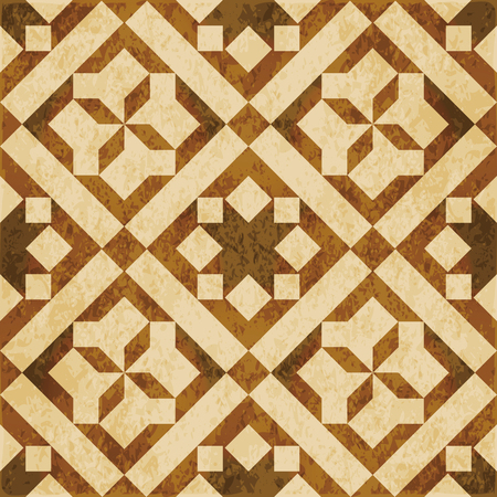 worn out: Retro brown watercolor texture grunge seamless background square check cross geometry Illustration
