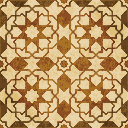 worn out: Retro brown watercolor texture grunge seamless background Islamic star cross geometry