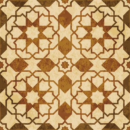 Retro brown watercolor texture grunge seamless background Islamic star cross geometry
