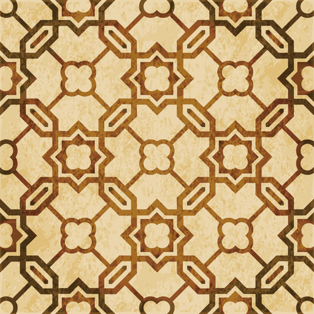 Retro brown watercolor texture grunge seamless background Islamic polygon chain cross star. Stock Illustratie