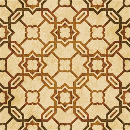Retro bruine aquarel textuur grunge naadloze achtergrond Islamitische veelhoek keten kruis ster.