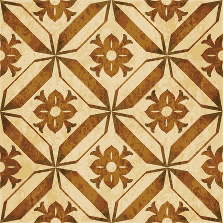 worn out: Retro brown watercolor texture grunge seamless background round geometry polygon cross flower.