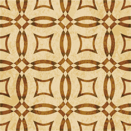 worn out: Retro brown watercolor texture grunge seamless background cross round geometry frame.