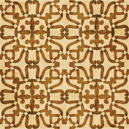 Retro brown watercolor texture grunge seamless background round curve kaleidoscope line.