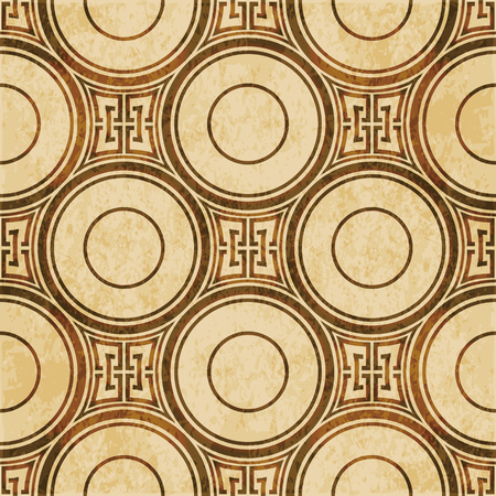 worn out: Retro brown watercolor texture grunge seamless background with round geometry cross chain