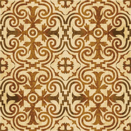 Retro brown watercolor texture grunge seamless background royal spiral curve kaleidoscope
