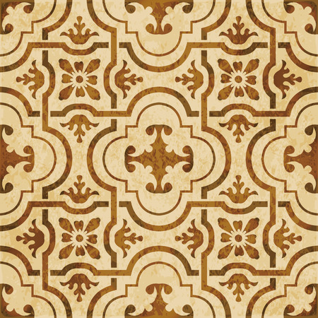 Retro brown watercolor texture grunge seamless background curve cross geometry frame flower