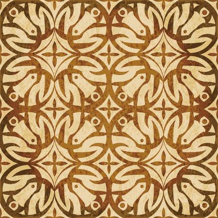 Retro brown watercolor texture grunge seamless background cross round flower Illustration