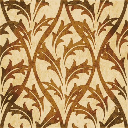 Retro brown watercolor texture grunge seamless background nature curve leaf cross Illustration