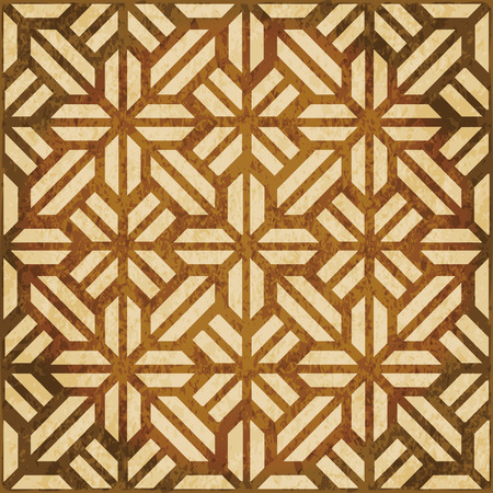 worn out: Retro brown watercolor texture grunge seamless background geometry cross polygon check frame Illustration