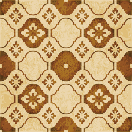 worn out: Retro brown watercolor texture grunge seamless background curve cross flower tracery