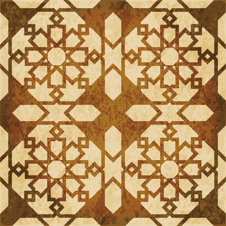 worn out: Retro brown watercolor texture grunge seamless background Islam star geometry cross frame Illustration