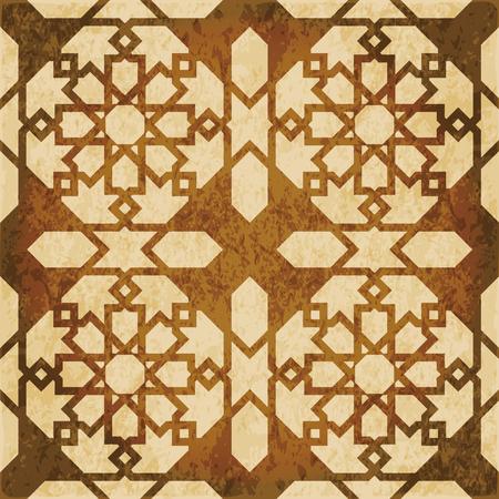 Retro brown watercolor texture grunge seamless background Islam star geometry cross frame Illustration
