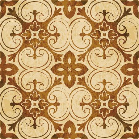 Retro brown watercolor texture grunge seamless background botanic vintage spiral cross curve flower Stock Illustratie